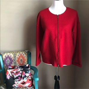 Eileen Fisher Wool Red Zip Up Sweater